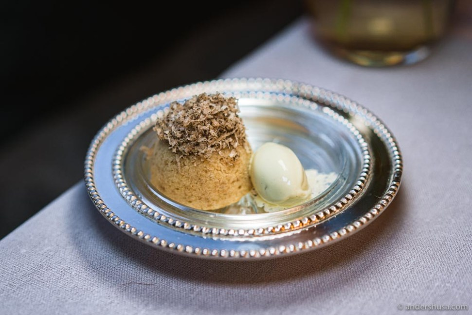 Truffle and brown butter fondant with a camellia cheese crisp and pine ice cream.