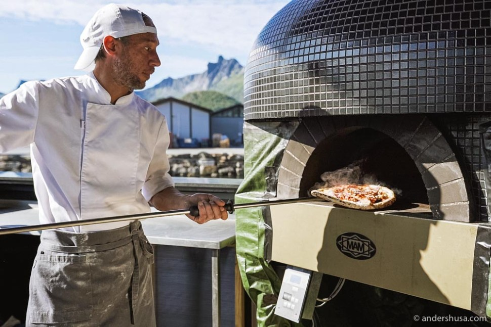 The wood-fired pizza oven is at the center of the lunch menu.