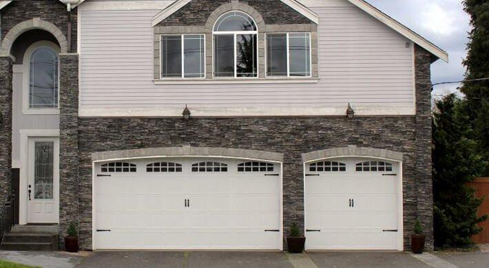 White Therma tech residential garage door