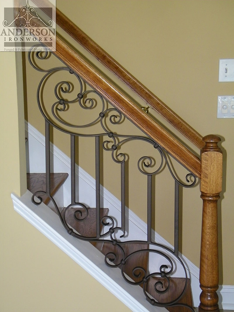 Wrought Iron Railing Custom And Pre Designed Anderson Ironworks | Interior Iron Stair Railing | Minimalist Simple Stair | Fancy | Staircase | Residential | Stair Outside