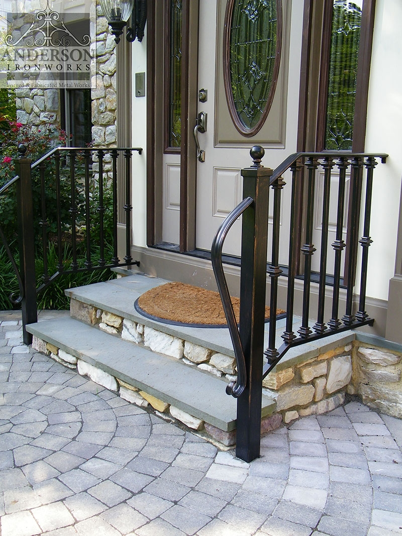Wrought Iron Railing Custom And Pre Designed Anderson Ironworks | Wrought Iron Stair Railing Near Me | Steel | Spindles | Wood | Front Porch Railings | Stair Spindles
