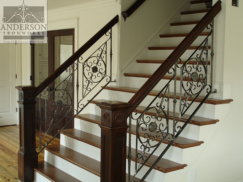 Wrought Iron Railing Custom And Pre Designed Anderson Ironworks | Wood And Rod Iron Railing | Wooden | Dark Stained | Wrought Iron | Pipe | Simple Modern