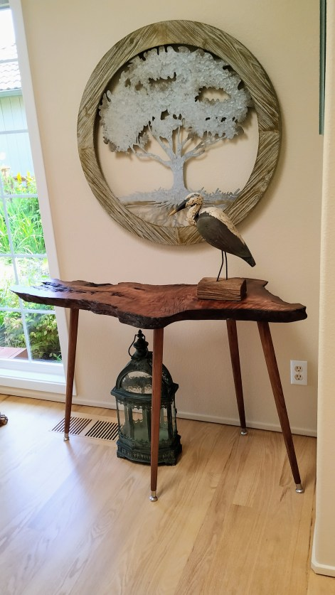 Redwood side table by Bob Gutz