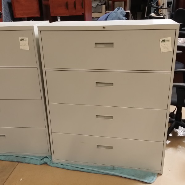 Used Steelcase 4 Drawer Lateral File Cabinet Putty