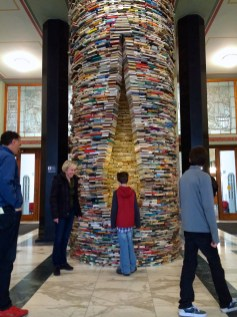 Book tower at the public library.