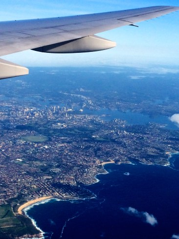 Flying in over Sydney