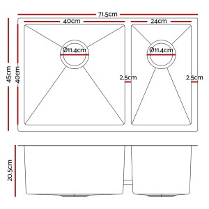 Cefito Stainless Steel Kitchen Sink 710X450MM Under/Topmount Laundry Double Bowl Silver