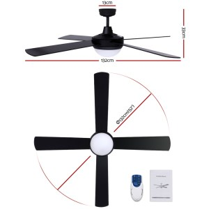 """Fan Ceiling 52"""" With Light / Remote Control / 4 Blades - Black"""