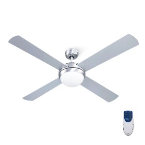 """Fan Ceiling 52"""" With Light / Remote Control / 4 Blades - Silver"""