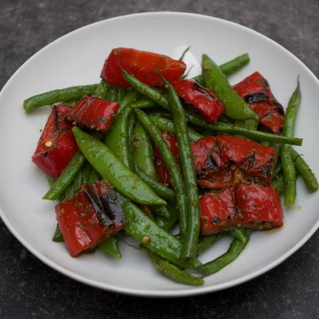 Salad of the Day : Green Beans with Charred Romano Peppers and Sesame Dressing