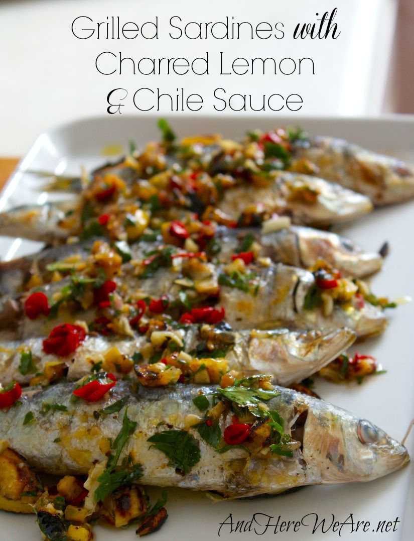 Grilled Sardines with Charred Lemon & Chile Sauce
