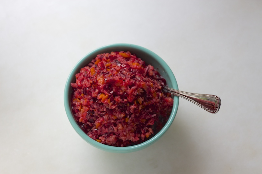 Raw Cranberry and Orane Relish from And Here We Are...