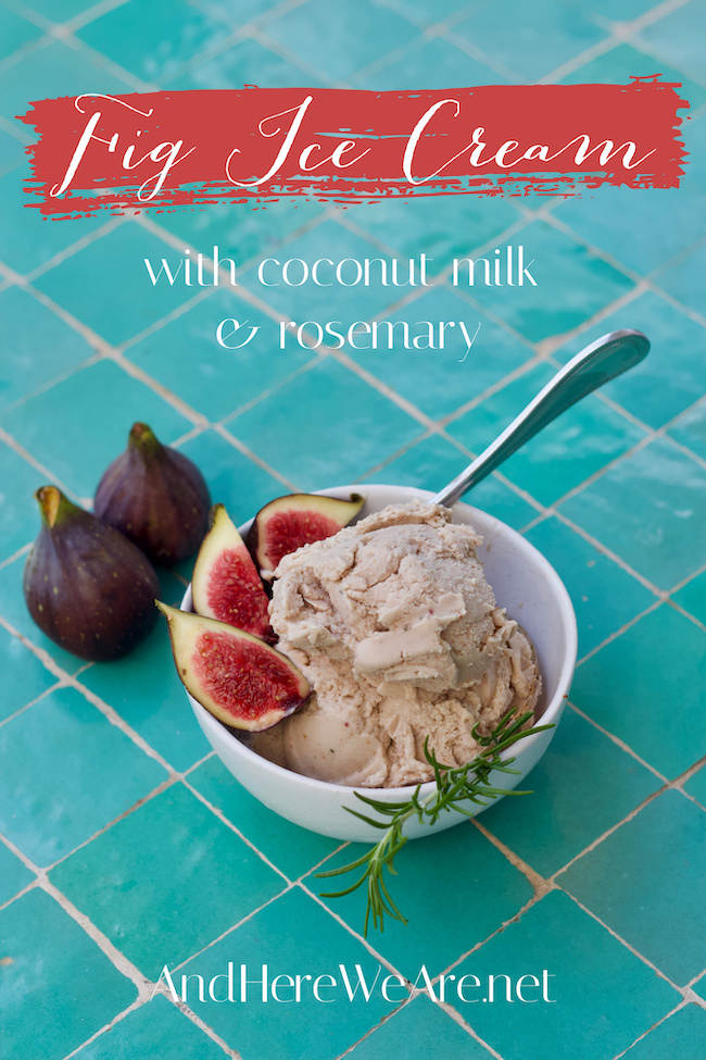 fig ice cream garnished with fresh figs and a rosemary sprig