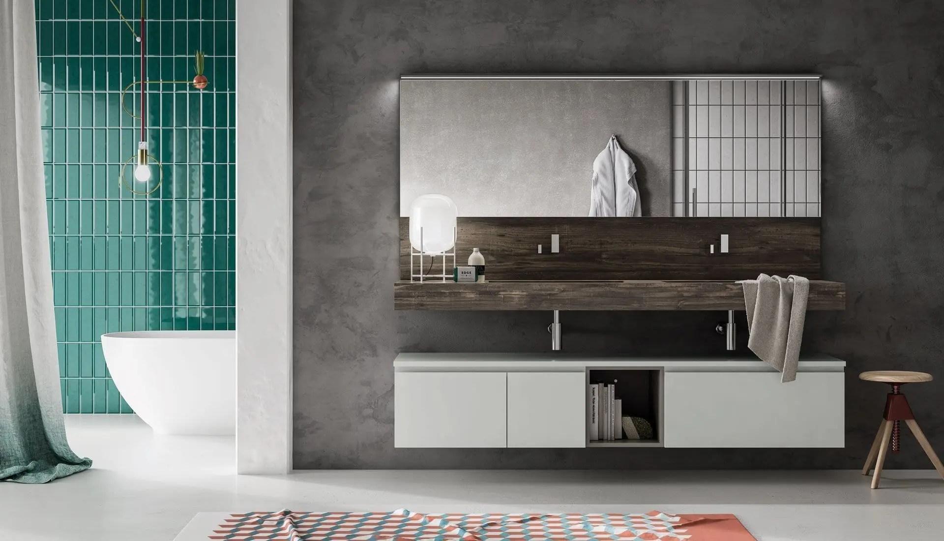 Mobile bagno laccato bianco e top effetto legno andhome for Il mobile arredamenti
