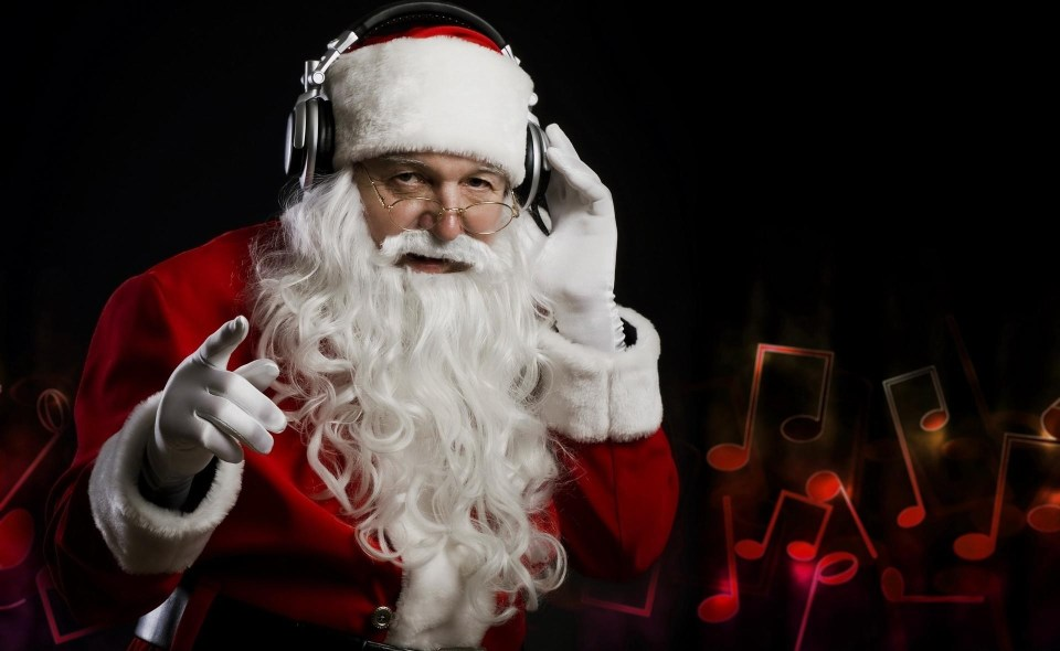Santa Claus Christmas Headphones Music Hand