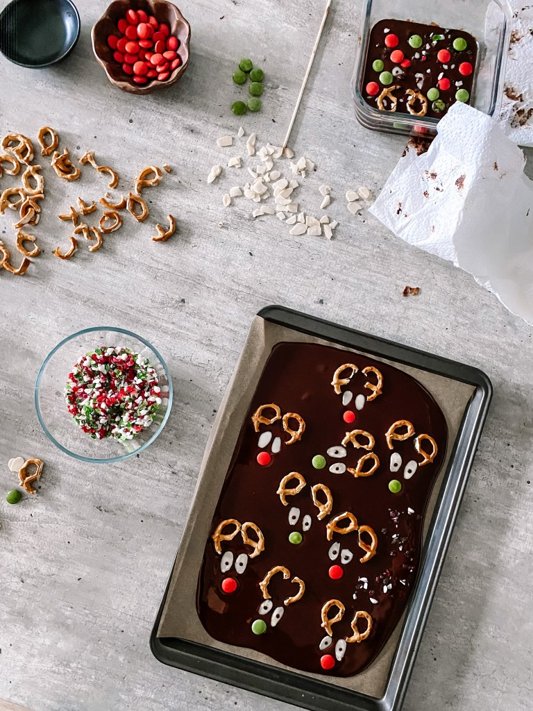 reindeer chocolate bark assembly with candies