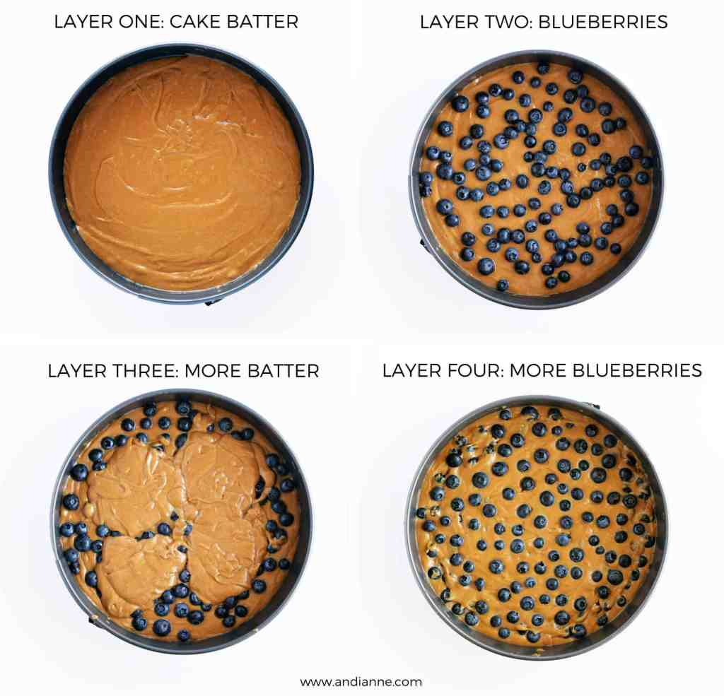 how to layer gluten free blueberry cake in cake pan