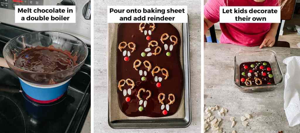 reindeer chocolate bark recipe steps