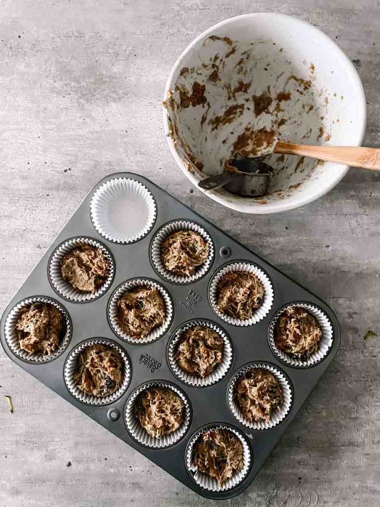 Muffins in pan with cupcake liners