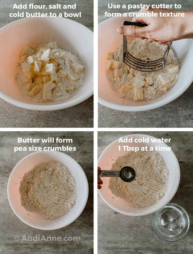 Four images together. All illustrating how to mix flour and butter together in a bowl, first using the pastry cutter to crumble pieces. Then starting to add the ice cold water with a spoon.