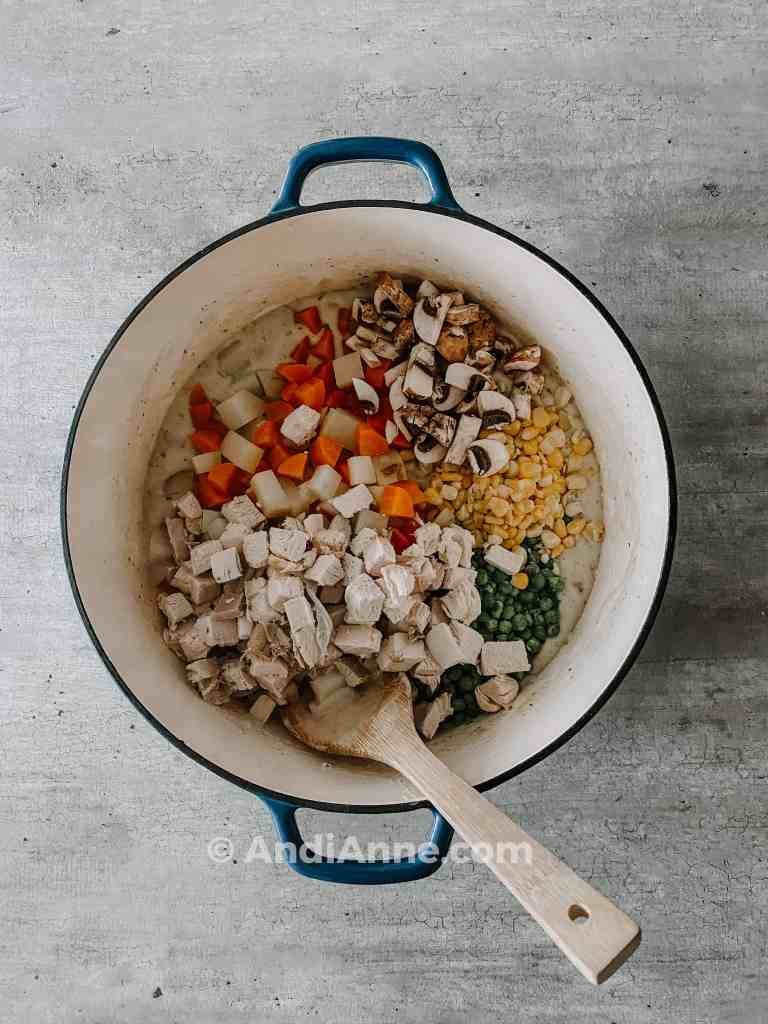 Chopped vegetables and turkey in dutch oven pot
