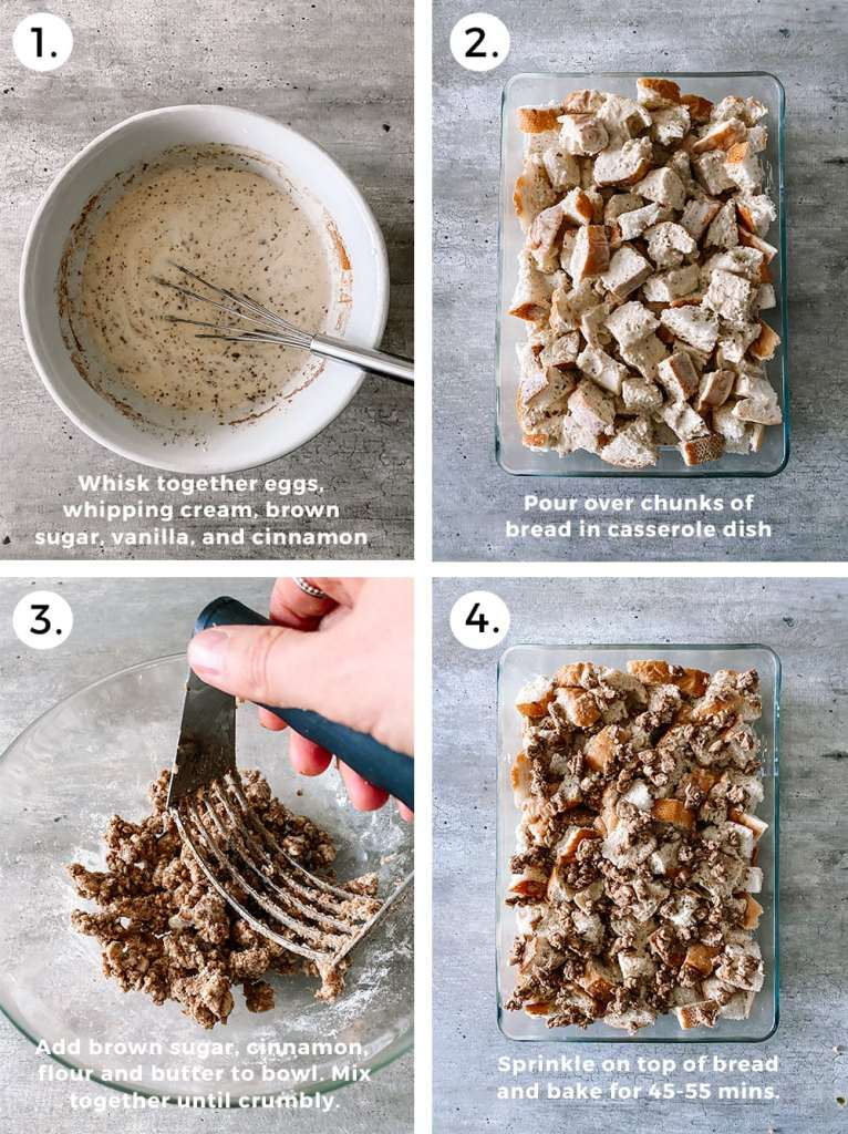 steps to making french toast casserole. a bowl with wet ingredients. chunks of bread in casserole dish. Mashing butter and cinnamon in a glass bowl.