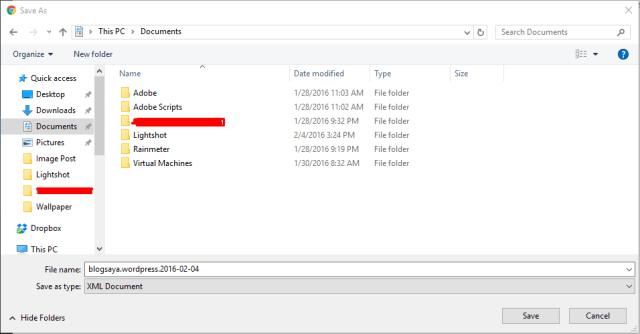 cara memindahkan blog wordpress export