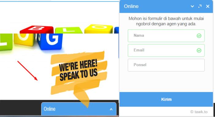 live chat gratis twakto custom widget front form