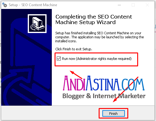 Install SEO Content Machine Finish