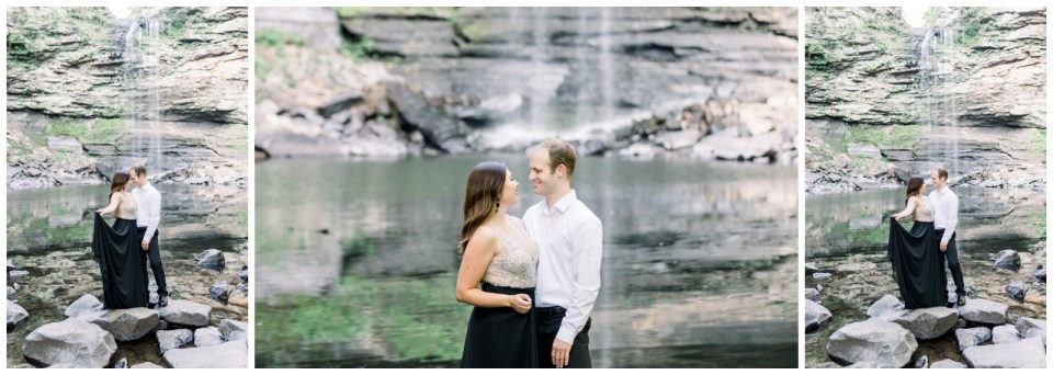 Couple under waterfall at gorgeous engagement session| Petit Jean Engagement| Petit Jean State Park| Tulsa Wedding Photographer| Arkansas Engagement Photographer| Destination Wedding Photographer| Andi Bravo Photography| andibravophotography.com
