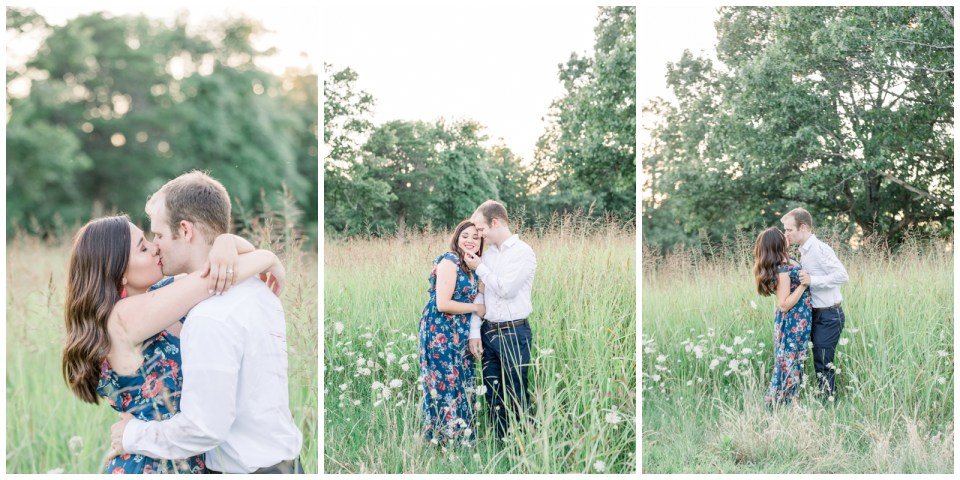 Couple hugging and kissing in field| Petit Jean State Park Engagement| Petit Jean| Arkansas engagement| Arkansas wedding photographer| Tulsa wedding photographer| Destination wedding photographer| Andi Bravo Photography| andibravophotography.com