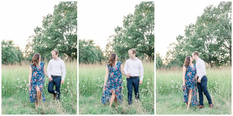 Couple walking hand in hand through field  Petit Jean State Park Engagement| Arkansas engagement| Arkansas wedding photographer| Tulsa wedding photographer| Destination wedding photographer| Andi Bravo Photography| andibravophotography.com
