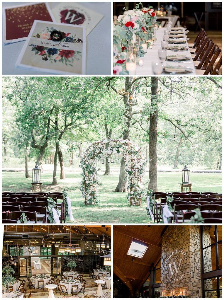 Spring wedding details- outdoors floral wedding arch at PostOak Lodge in Tulsa, OK| Tulsa Wedding Photographer| PostOak Lodge Wedding| Rustic wedding|  Destination Wedding Photographer| Andi Bravo Photography