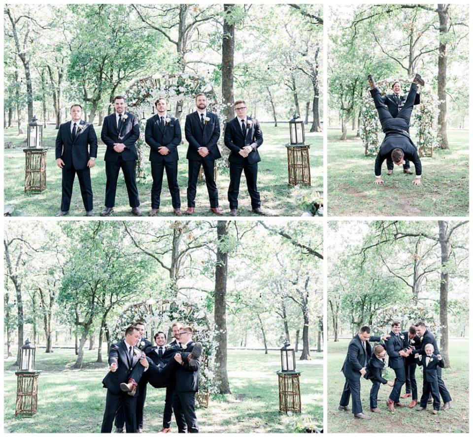 Groom and groomsmen goofing around at PostOak Lodge in Tulsa, OK| Tulsa Wedding Photographer| PostOak Lodge Wedding| Destination Wedding Photographer| Andi Bravo Photography