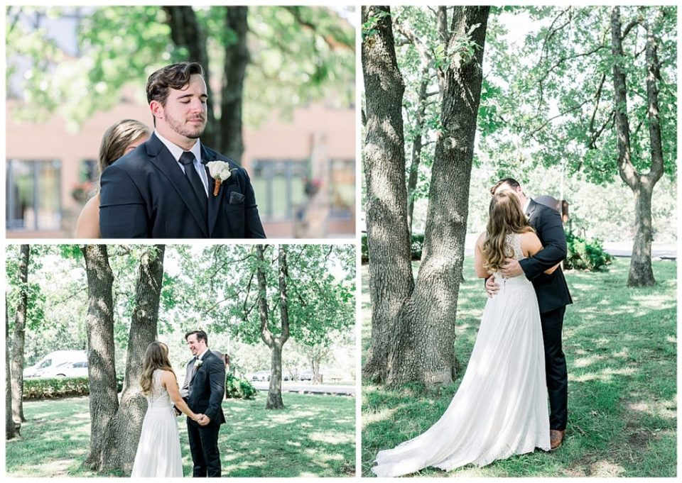 Groom sees his bride for the first time during first look at PostOak Lodge in Tulsa, OK| Tulsa Wedding Photographer| PostOak Lodge Wedding| Destination Wedding Photographer| Andi Bravo Photography