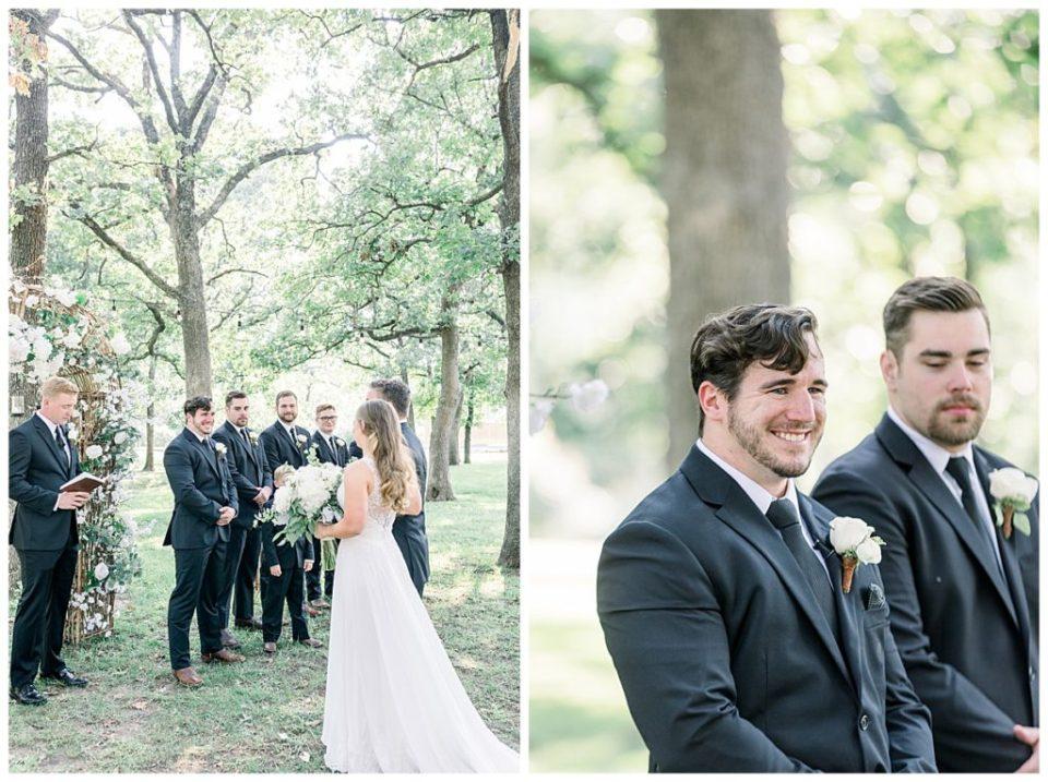 Groom smiles after seeing bride walk down the aisle at PostOak Lodge in Tulsa, OK| Tulsa Wedding Photographer| PostOak Lodge Wedding| Destination Wedding Photographer| Andi Bravo Photography