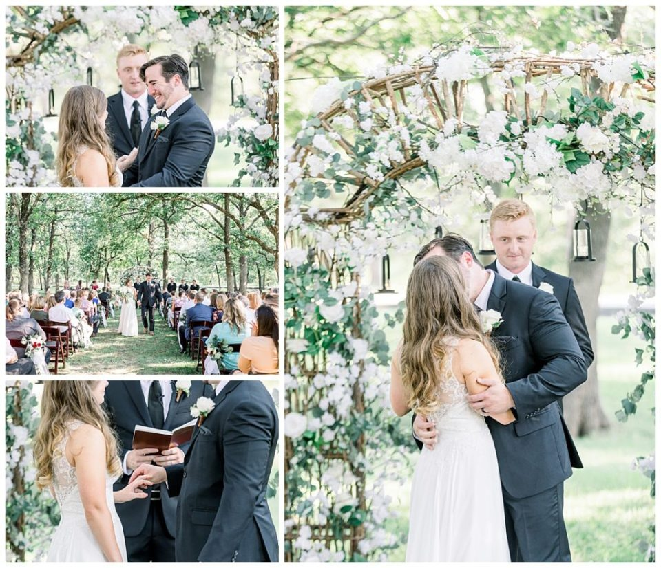 Bride and groom exchange vows at PostOak Lodge in Tulsa, OK| Tulsa Wedding Photographer| PostOak Lodge Wedding| Destination Wedding Photographer| Andi Bravo Photography