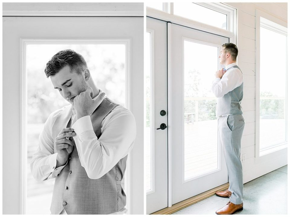 Groom getting ready by window| The View At Hillside Barn Wedding| Countryside Wedding|  Tulsa Wedding Photographer| Andi Bravo Photography