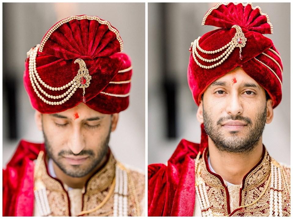 Close up of groom in crimson and gold sherwani headdress| Indian Hindu wedding ceremony Tulsa| Tulsa wedding photographer| Andi Bravo Photography