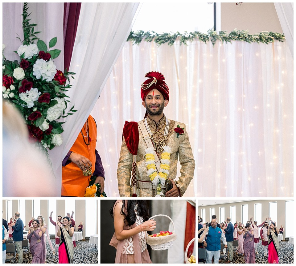 Hindu wedding ceremony begins, groom sees bride for first time| Hindu wedding ceremony Tulsa| Sky Loft at First Place Tower| Tulsa wedding photographer| Andi Bravo Photography