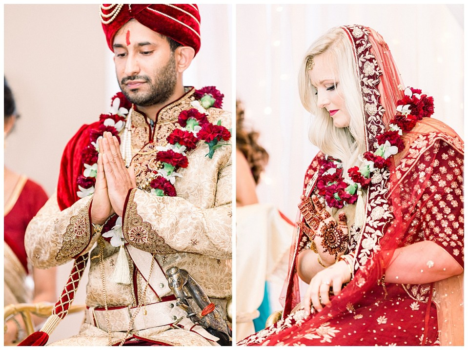 Bride and groom praying at Hindu wedding ceremony Tulsa| Tulsa wedding photographer| Andi Bravo Photography