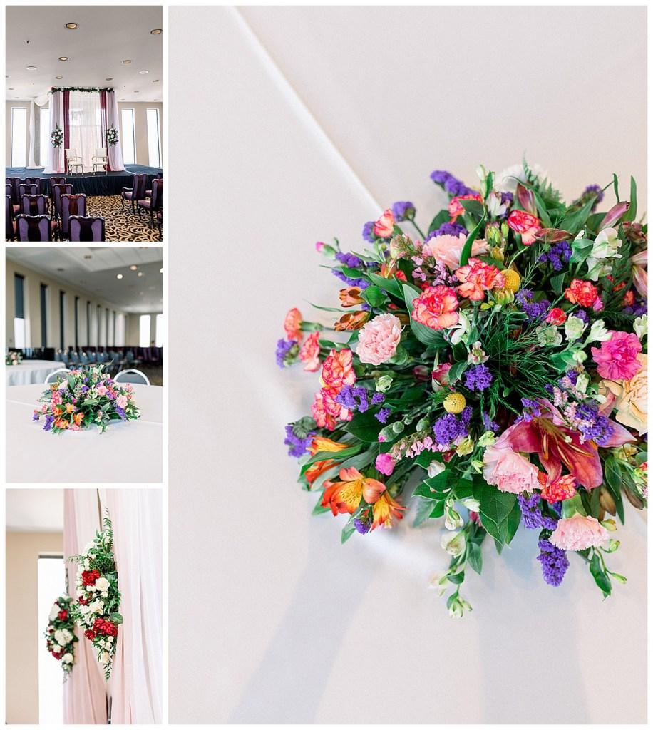 Indian Hindu wedding ceremony decorations| Vibrant bouquet| Indian Hindu wedding Tulsa| Sky Loft at First Place Tower| Tulsa wedding photographer| Destination wedding photographer| Andi Bravo Photography