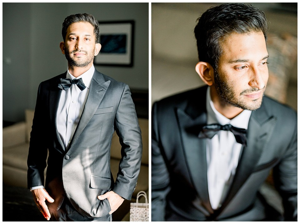 Close up of handsome groom in black suit and bowtie| The Mayo Hotel wedding| Tulsa wedding photographer| Andi Bravo Photography