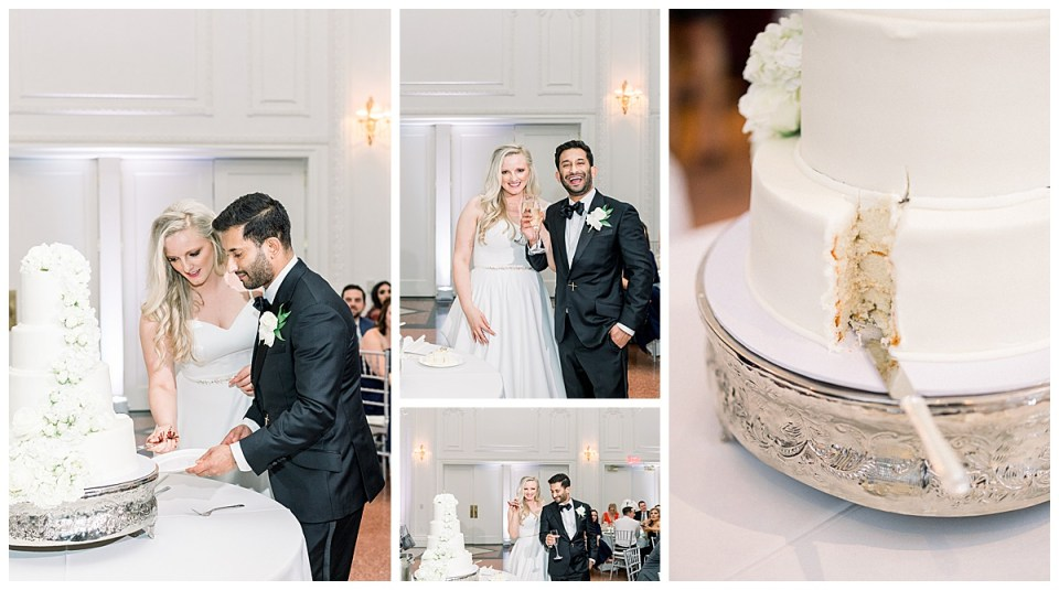 Bride and groom cut the cake| white four tiered wedding cake with white flowers| The Mayo Hotel| Tulsa weddings| Tulsa wedding photographer| Andi Bravo Photography