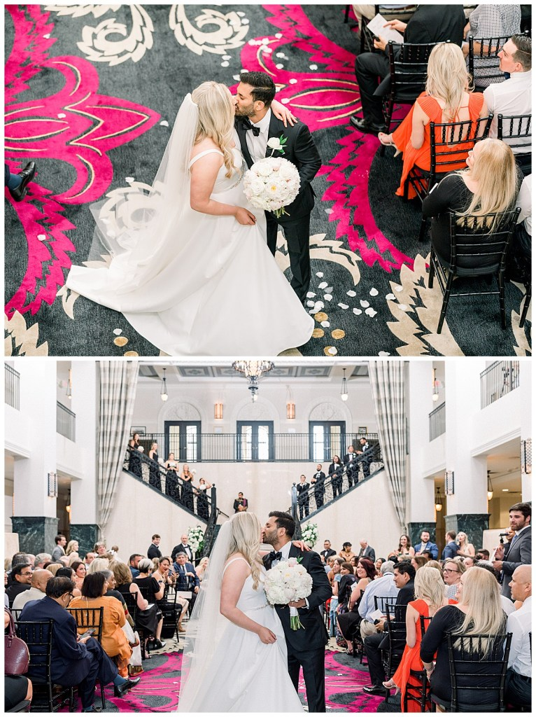Aerial shot and close up shot of bride and groom kissing at The Mayo Hotel wedding| Tulsa weddings| Tulsa wedding photographer| Destination wedding photographer| Andi Bravo Photography