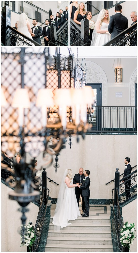 Bride and groom stand at alter on staircase at The Mayo Hotel wedding| Tulsa wedding photographer| Andi Bravo Photogaphy