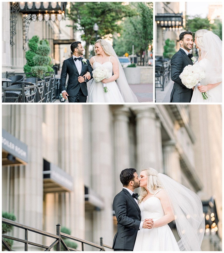 Bride and groom walk down the strip and stop for a kiss| The Mayo Hotel| Tulsa weddings| Tulsa wedding photographer| Andi Bravo Photography