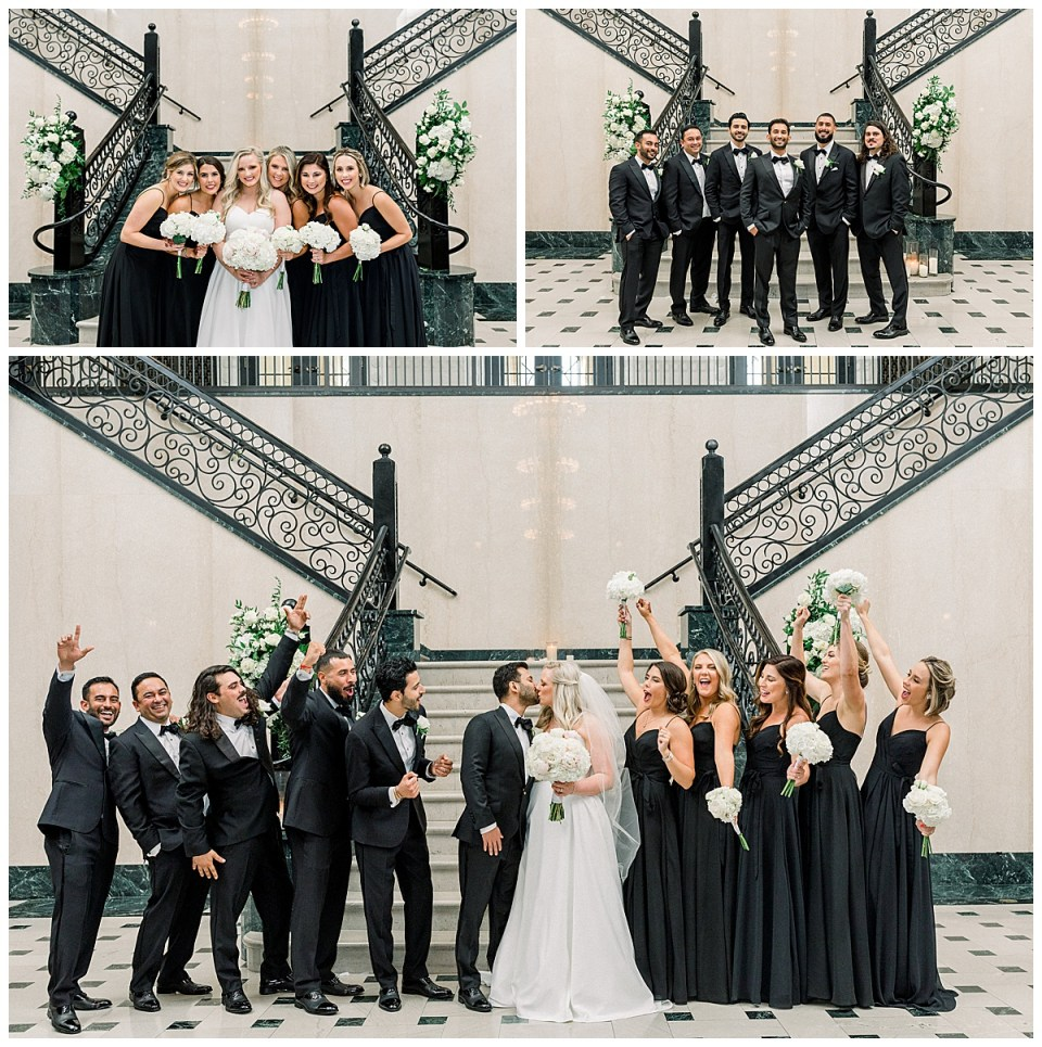 Bridal party in all black at the Mayo Hotel Tulsa| Tulsa wedding photographer Andi Bravo Photography