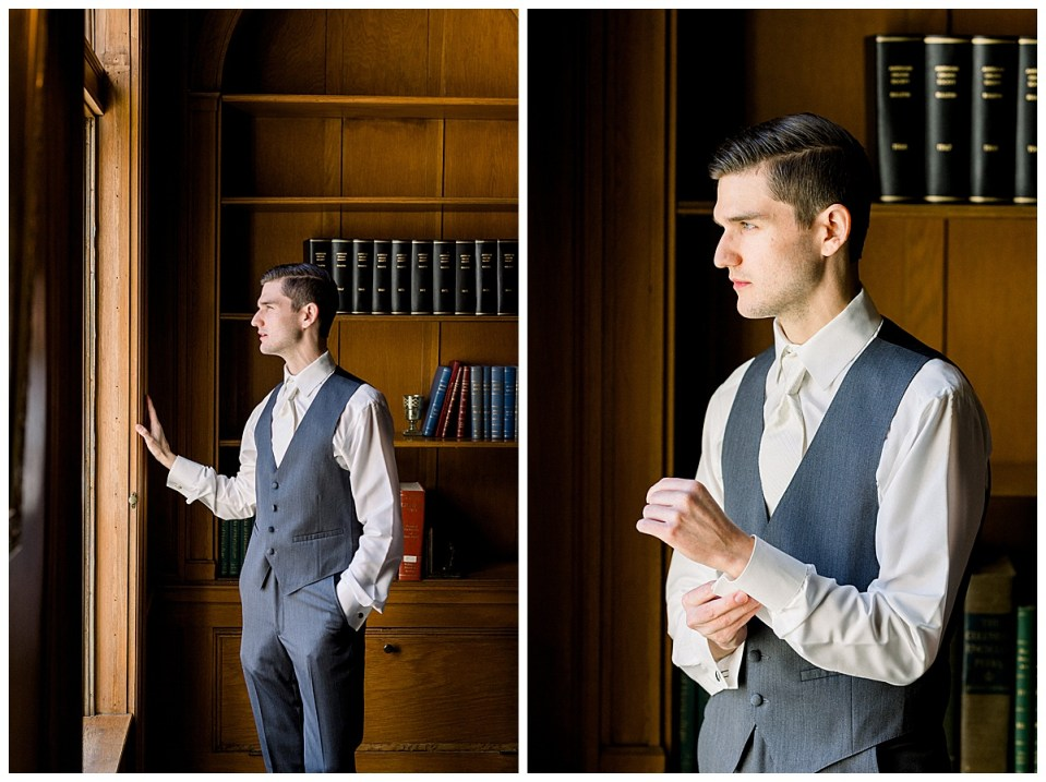 Groom grabbing cufflinks next to window in study| Tulsa wedding venue| The Mansion at Woodward Park| Andi Bravo Photography