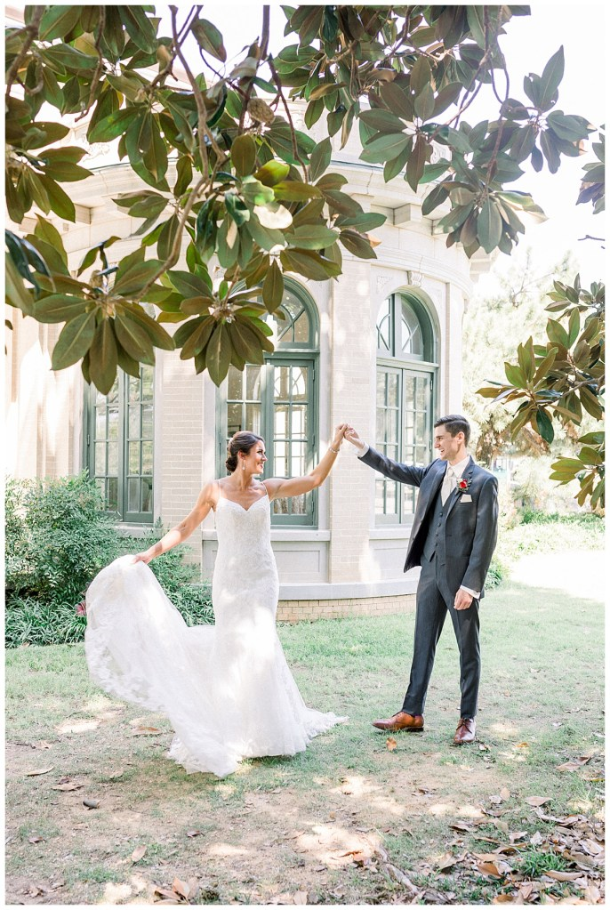 Bride and groom dancing beneath the trees at Tulsa wedding venue| Andi Bravo Photography